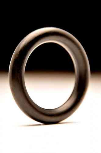 Black Thick 9mm Rubber Single Cock Ring 55mm