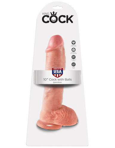"Pipedream Dildo 10"" KING COCK With Balls SKIN"
