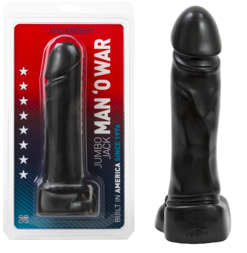 "Doc Johnson JUMBO JACK MAN O' WAR 10"" Dildo Blk"