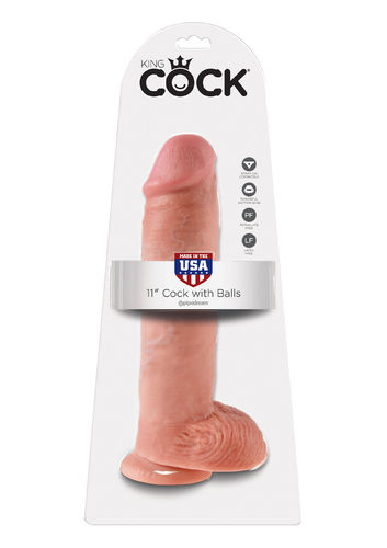 "Pipedream Dildo 11"" KING COCK With Balls SKIN"